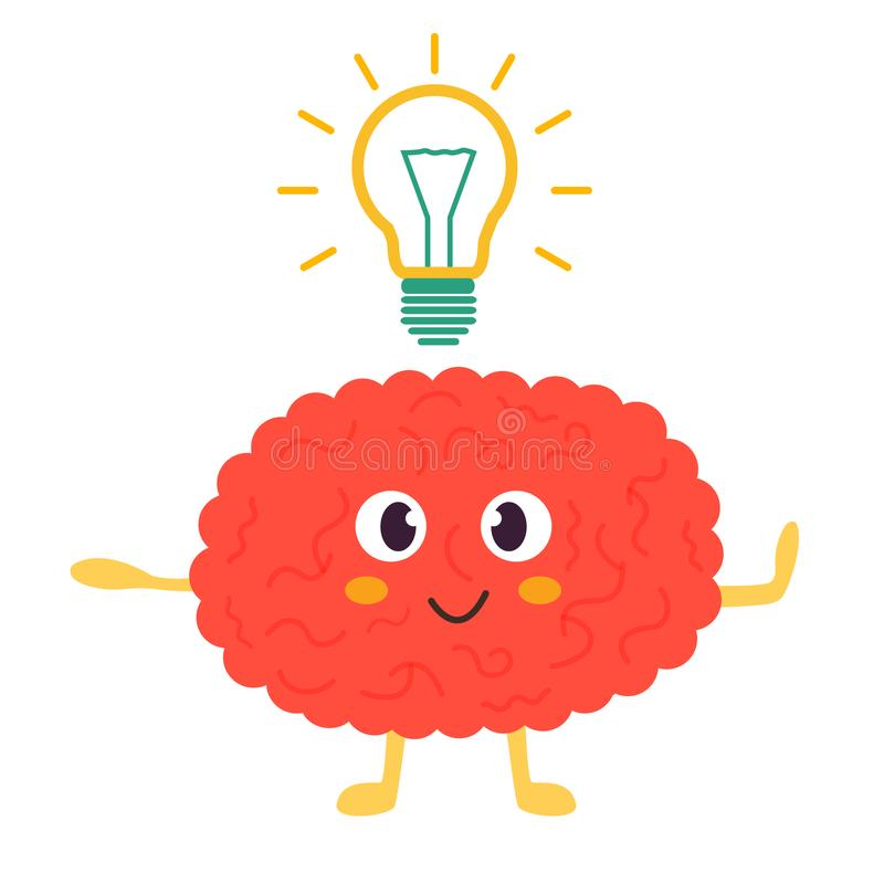Train your brain poster with funny cartoon brain vector illustration