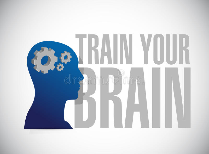 train your brain sign concept stock illustration