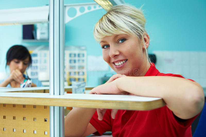 Trainee in dental laboratory stock images