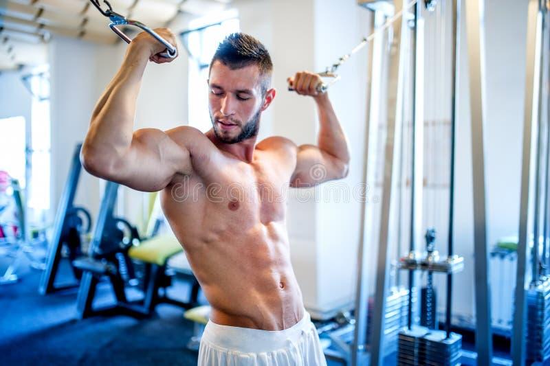Trainer, bodybuilder die de bicepsen en abs in gymnastiek uitwerkt stock fotografie