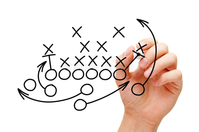 Trainer-Drawing American Football-Textbuch-Strategie lizenzfreie stockfotografie