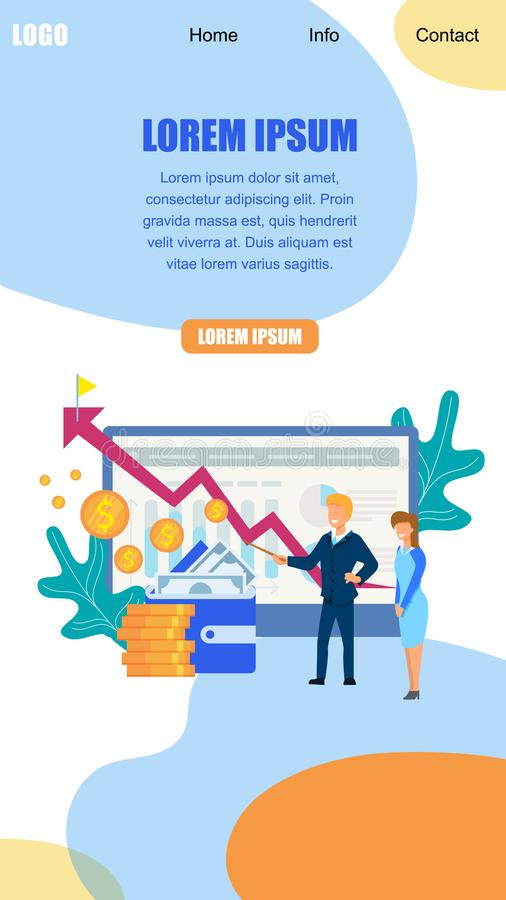 Trainer Explain to Girl Financial Growth Strategy. Business Trainer Explain to Young Office Girl Financial Growth Strategy. Arrow Indicator Rising Up to Aim stock illustration