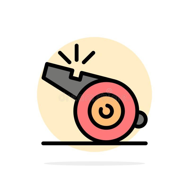 Trainer, Referent, Sport, flache Ikone Farbe des Pfeifen-Zusammenfassungs-Kreis-Hintergrundes vektor abbildung