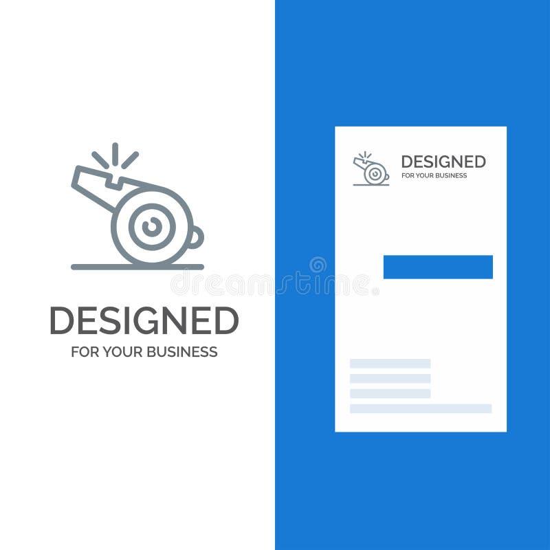 Trainer, Referent, Sport, Pfeife Grey Logo Design und Visitenkarte-Schablone vektor abbildung