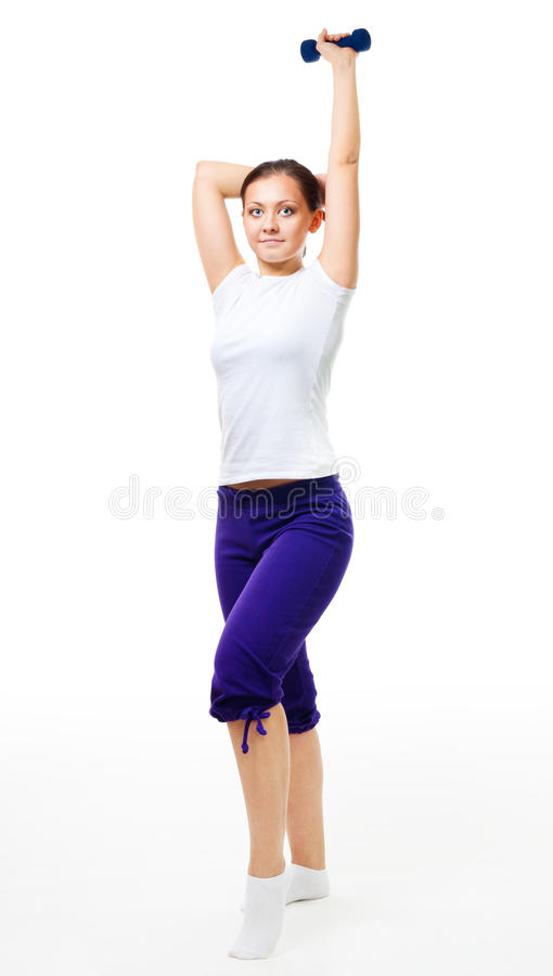 Download Trainer Show Exercise With Dumbbell Stock Photo - Image: 12748918