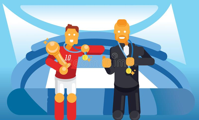 Trainer and soccer player celebrate with trophy and winner coin vector illustration
