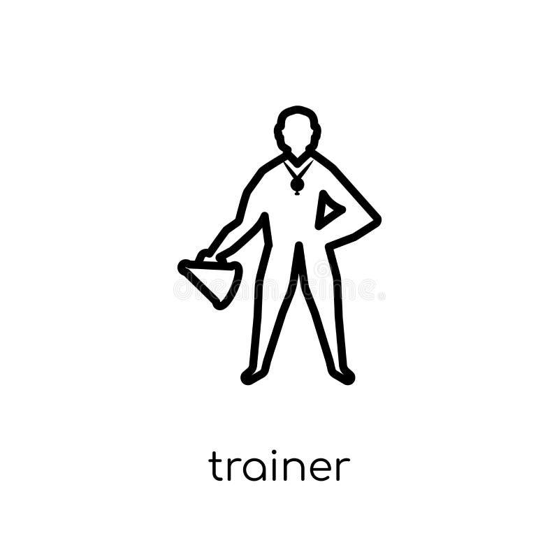 Trainerpictogram In modern vlak lineair vectortrainerpictogram op w royalty-vrije illustratie