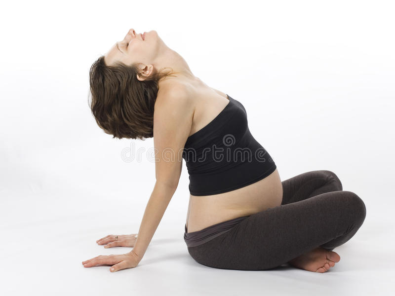 Trainieren der schwangeren Frau stockbild