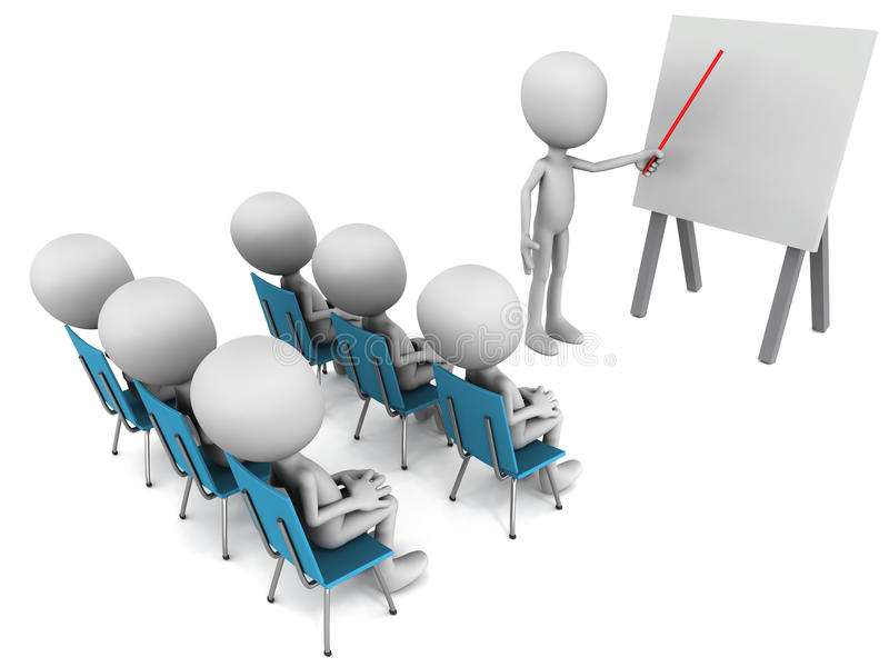 Training. Concept, trainees sitting in straight row of chairs watching the trainer explain on a white board, white background vector illustration