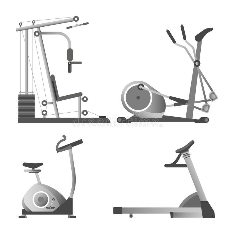 Training apparatuses from gym isolated monochrome illustrations set. Training apparatuses from gym isolated monochrome vector illustrations set on white royalty free illustration
