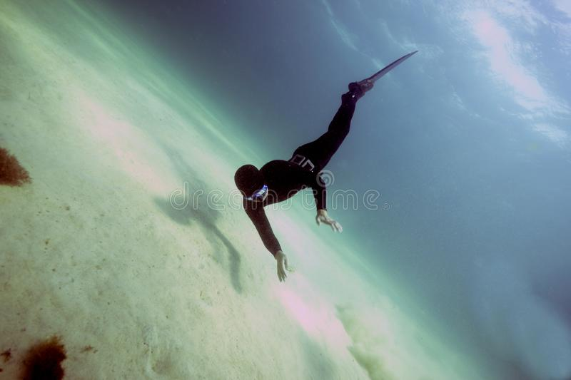 Freediver in the Black Sea. royalty free stock image