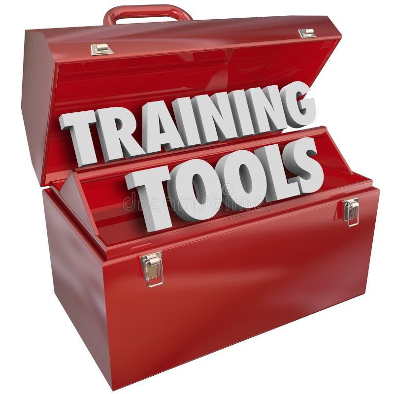 Training bearbeitet den roten Werkzeugkasten, der neue Erfolgs-Fähigkeiten lernt lizenzfreie abbildung