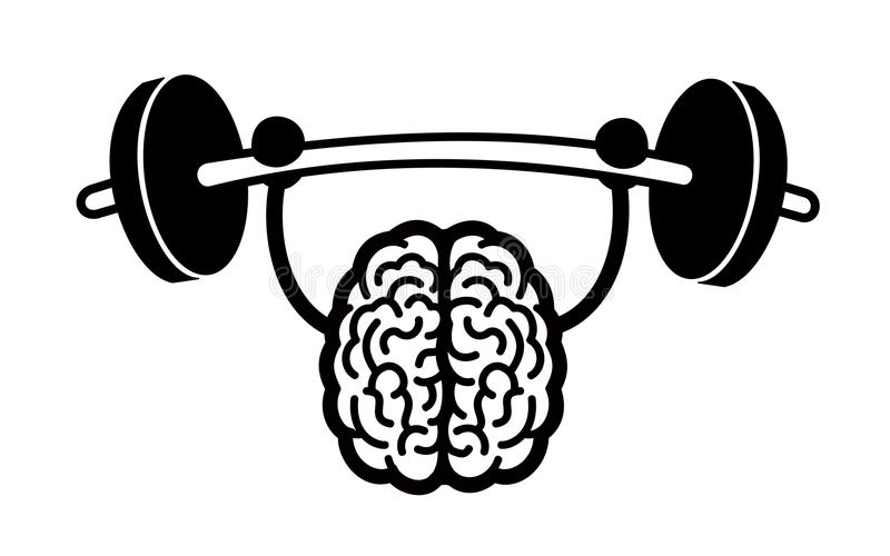 Training of brain. Training and exercise of intelligent, bright and clever brain - strong intelligence, cleverness and brightness. Vector illustration, comics vector illustration