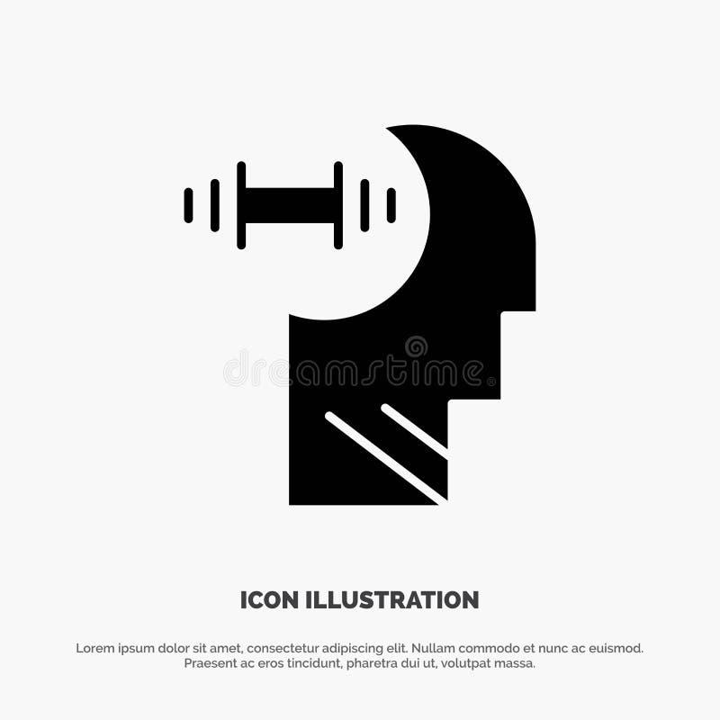 Training, Brian, Dumbbell, Head Solid Black Glyph Icon vector illustration