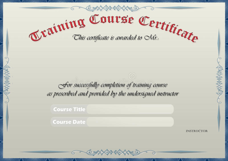 Training Certificate Royalty Free Stock Image - Image: 15664166
