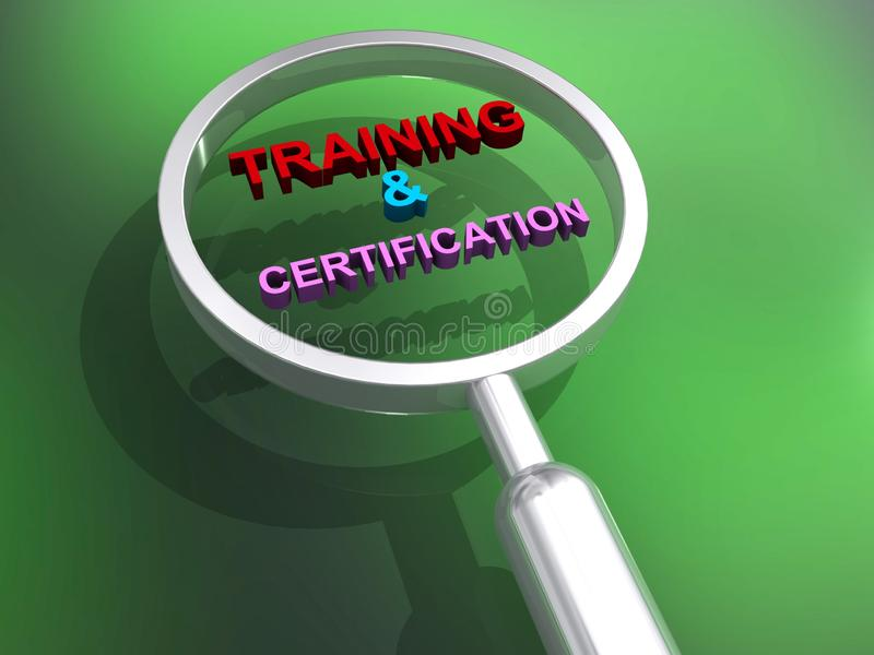 Training and certification illustration. Training and certification illustrated in colorful block text graphics inside magnifying glass on green vector illustration