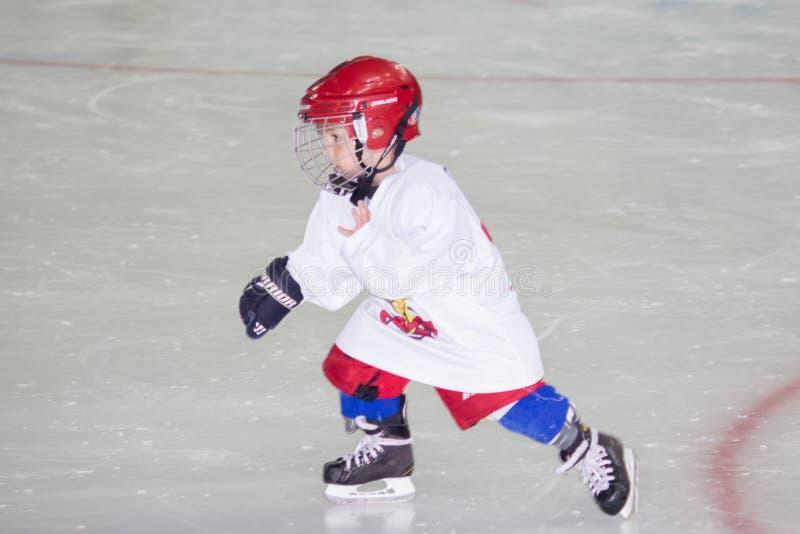 Training of children`s hockey team in Sochi stock photo
