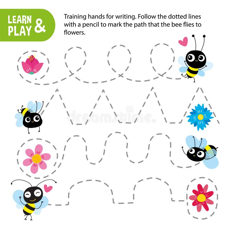 Training childrens motor skill hand, writing skill. Connect dotted lines by pencil to track way that bee follows to. Flower. Game for children. Learn and play vector illustration