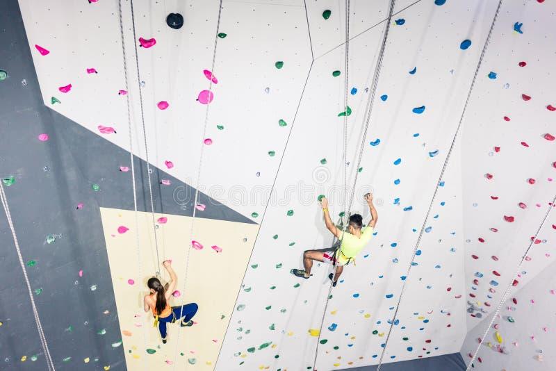 Training of climbing wall royalty free stock photo