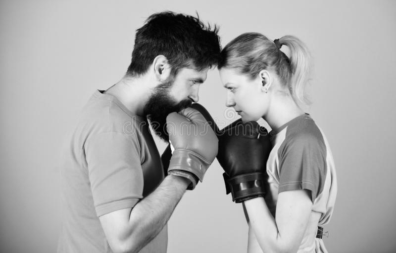 Training with coach. Happy woman and bearded man workout in gym. punching, sport Success. sportswear. Fight. knockout. Training with coach. Happy women and royalty free stock photography