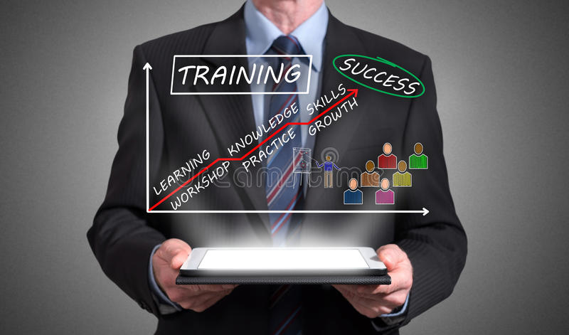 Training concept appearing above a tablet royalty free stock photos