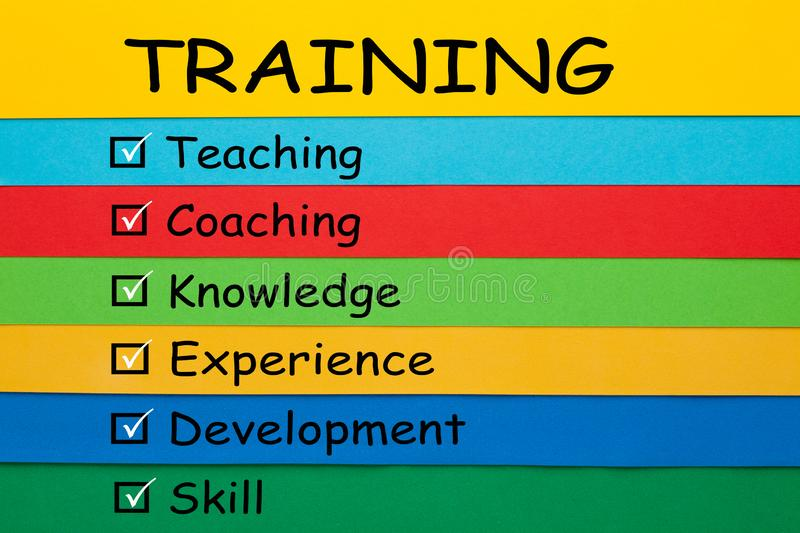 Training Keywords Concept. Training with conceptual words on colored paper sheets. Business Concept royalty free stock photography
