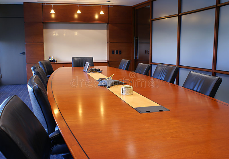 Training or corporate meeting room. Meeting room with chairs and a white board royalty free stock photo