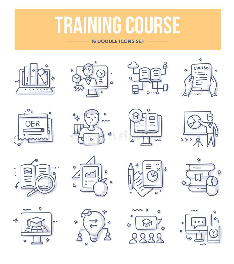 Training Course Doodle Icons royalty free illustration