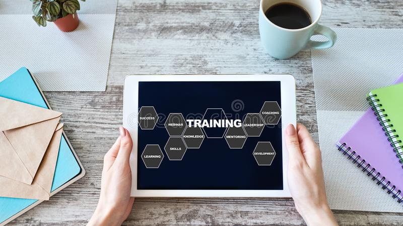 Training course, E-learning, education concept on device screen. stock photos