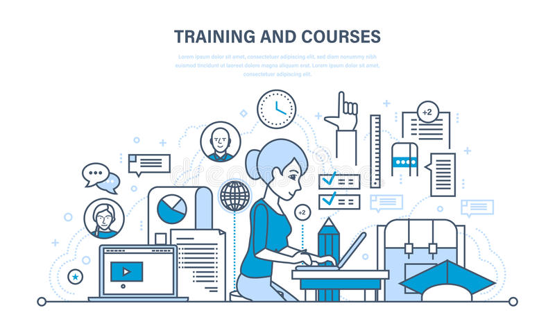 Training and courses, distance learning, technology, knowledge, teaching and skills. vector illustration