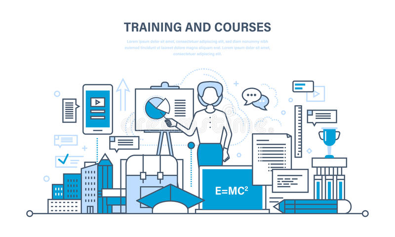 Training and courses, distance learning, technology, knowledge, teaching and skills. The modern system of training and courses, distance learning, technology stock illustration