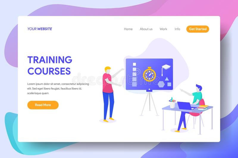 TRAINING COURSES. Landing page template of TRAINING COURSES Concept. Modern illustration flat design concept of web page design for website and mobile website royalty free illustration