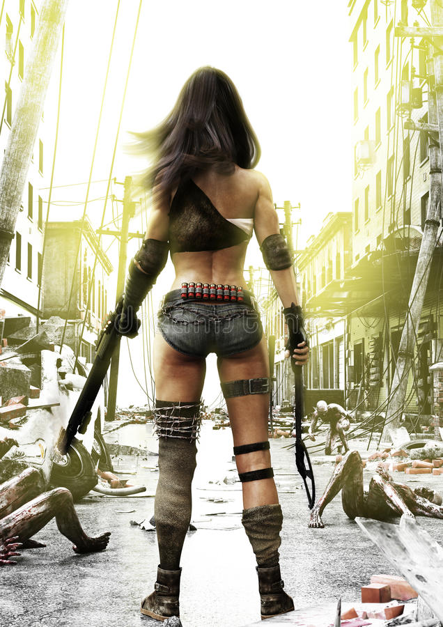 Training Day, Zombies advancing on a fully prepared Post Apocalyptic fearless female with a ruined city background. 3d rendering illustration stock photo