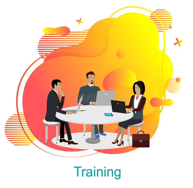 Training des Geschäfts-Teams, Büroangestellte durch Tabelle lizenzfreie abbildung