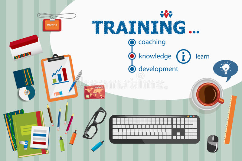 Training design and flat design illustration concepts for business analysis, planning stock illustration