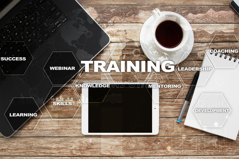 Training and development Professional growth. Internet and education concept. stock photos