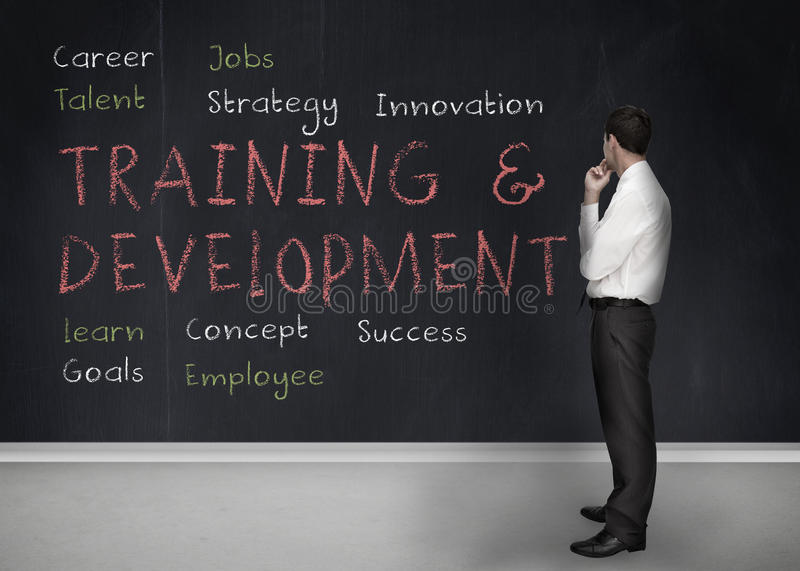 Training and development terms written on a blackboard royalty free stock photos