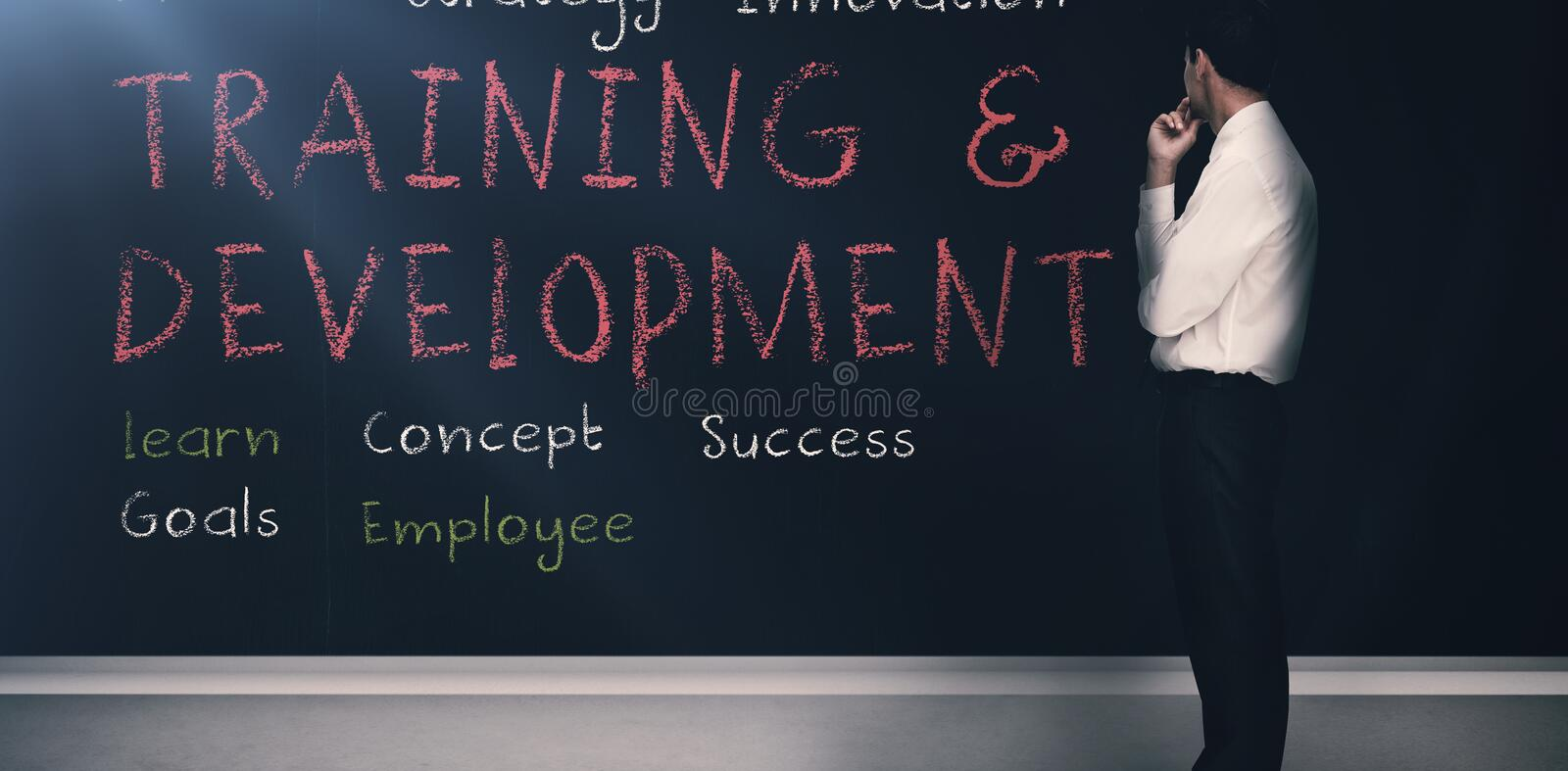 Training and development terms written on a blackboard 3d stock images