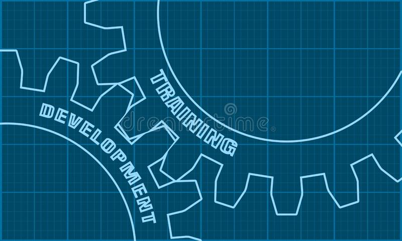 Training and Development text on the Gears. royalty free illustration