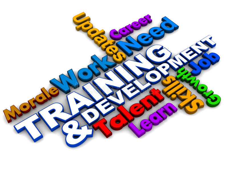 Training and development words. Collage on white background, colorful words, business concept stock illustration