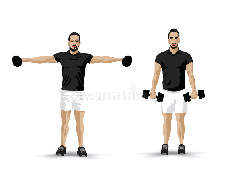 Training dumbbells man. Black shirted man training with dumbbells vector illustration