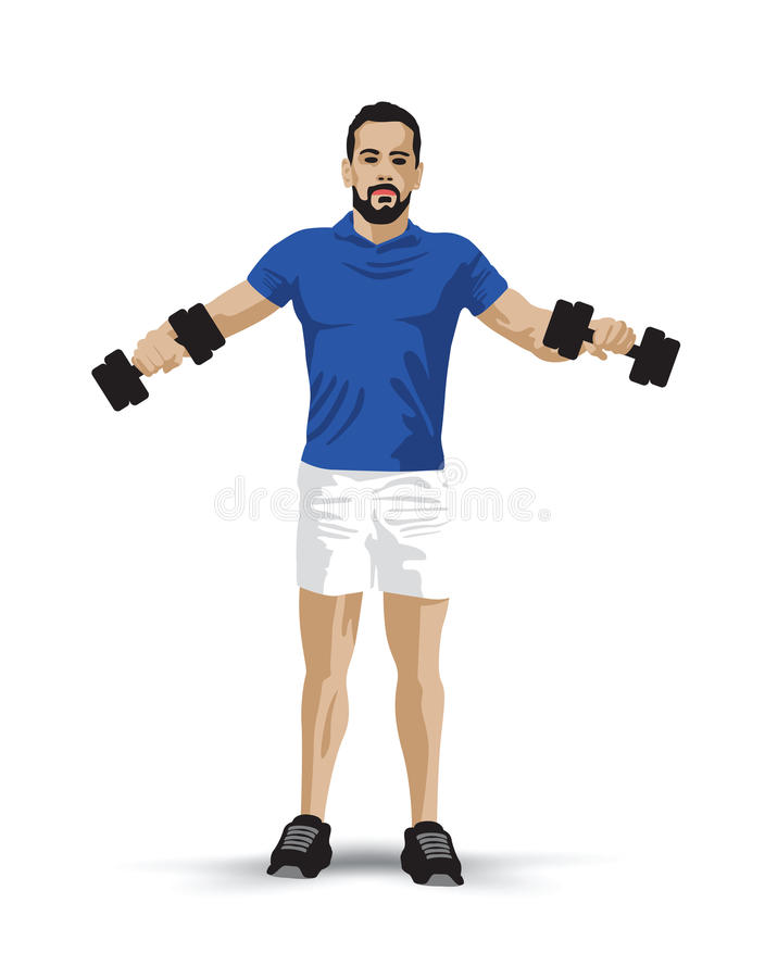 Training dumbbells man. Blue shirted man training with dumbbells vector illustration