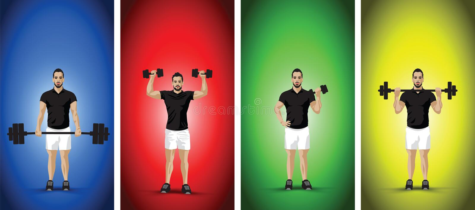 Training dumbbells men. Blue shirted man training with dumbbells stock illustration