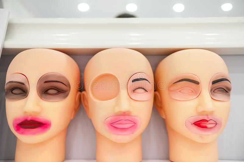 training dummies permanent make-up, study and skill royalty free stock photo