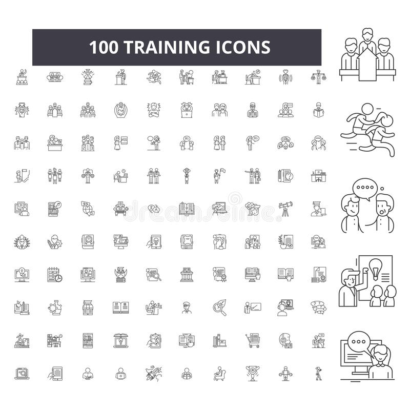 Training editable line icons, 100 vector set, collection. Training black outline illustrations, signs, symbols. Training editable line icons, 100 vector set on royalty free illustration
