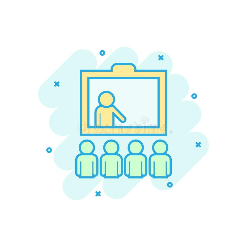 Training education icon in comic style. People seminar vector cartoon illustration pictogram. School classroom lesson business royalty free illustration