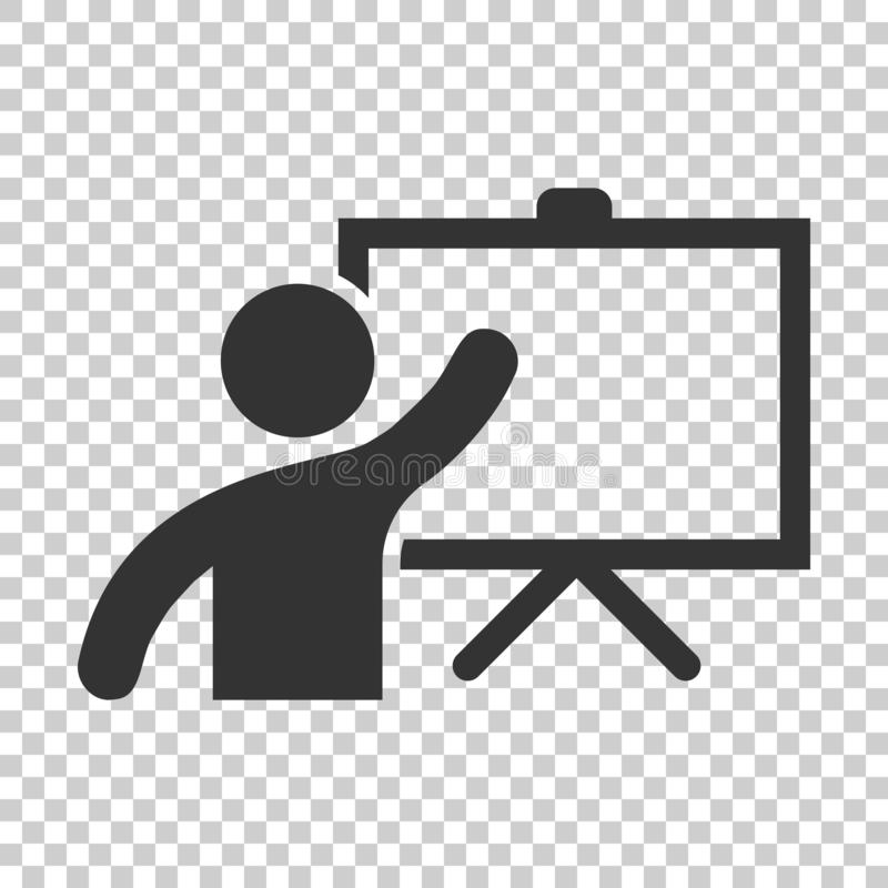 Training education icon in flat style. People seminar vector ill royalty free illustration