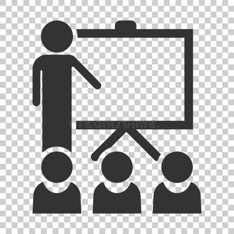 Training education icon in flat style. People seminar vector ill. Ustration on isolated background. School classroom lesson business concept royalty free illustration
