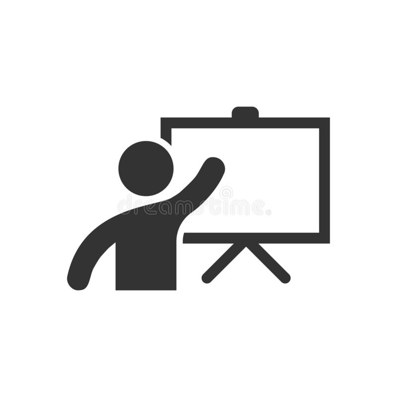 Training education icon in flat style. People seminar vector ill. Ustration on white isolated background. School classroom lesson business concept royalty free illustration