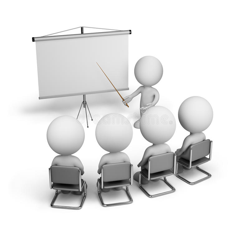 Training employees. Training of employees in the conference hall. 3d image. White background stock illustration